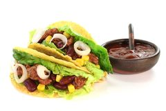 Mexican tacos with ground beef Stock Photos