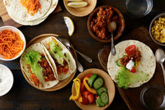 Mexican Tacos with ground beef and pork, carrots, cucumber, corn Royalty Free Stock Photography