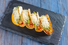 Mexican tacos with meat, beans, avocado, cheese and tomato sauce Stock Photography