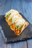 Mexican tacos with meat, beans, avocado, cheese and tomato sauce Royalty Free Stock Photography
