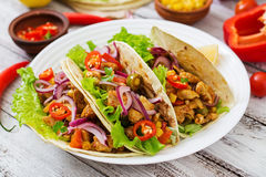 Mexican tacos with meat, corn and olives Royalty Free Stock Photos