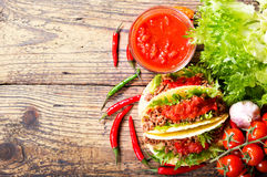 Mexican tacos with meat and  salsa, top view Stock Photo