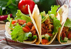 Mexican tacos with meat Stock Photo