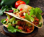 Mexican tacos with meat Stock Photos