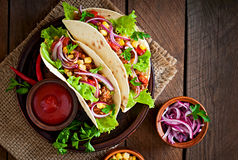 Mexican tacos with meat, vegetables stock photography