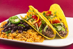 Mexican Tacos with Rice and Beans Royalty Free Stock Image