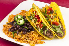 Mexican Tacos with Rice and Beans Royalty Free Stock Photography
