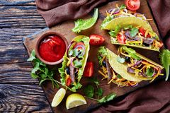 Mexican tacos with roasted beef and veggies royalty free stock image