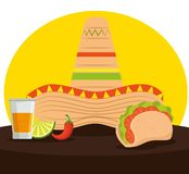 Mexican tacos with tequila and hat to celebrate event. Vector illustration stock illustration