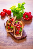 Mexican tacos in tortilla shells Stock Photo
