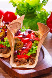 Mexican tacos in tortilla shells Royalty Free Stock Photography