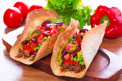 Mexican tacos in tortilla shells Stock Images