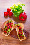 Mexican tacos in tortilla shells Royalty Free Stock Images