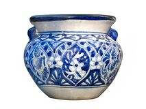 Mexican Talavera Blue Pot. Example of the blue and white traditional Mexican Talavera pot with handles Royalty Free Stock Images