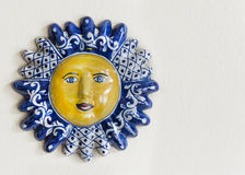 Mexican Talavera Ceramic Sun Face With Room for Text Royalty Free Stock Photography
