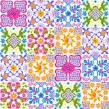 Mexican talavera ceramic tile pattern. Cute naive art items. Ethnic folk ornament royalty free illustration