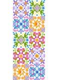 Mexican talavera ceramic tile pattern. Cute naive art items. vector illustration