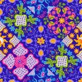 Mexican talavera ceramic tile pattern. Cute naive art items. Ethnic folk ornament vector illustration
