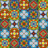 Mexican talavera ceramic tile pattern. Ethnic folk ornament. Italian pottery, portuguese azulejo or spanish majolica royalty free illustration