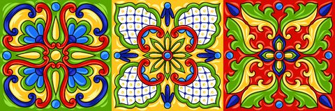 Mexican talavera ceramic tile pattern. Ethnic folk ornament. Italian pottery, portuguese azulejo or spanish majolica stock illustration