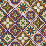 Mexican talavera ceramic tile pattern. Ethnic folk ornament. royalty free illustration