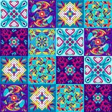Mexican talavera ceramic tile pattern with fishes. vector illustration