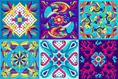 Mexican talavera ceramic tile pattern with fishes. Traditional decorative objects. Ethnic folk ornament. Decoration with ornamental flowers vector illustration