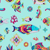 Mexican talavera ceramic tile pattern with fishes. stock illustration