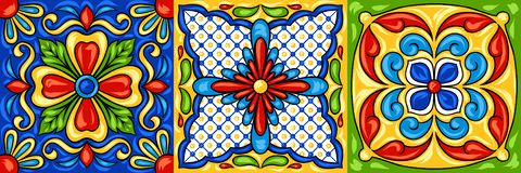 Mexican talavera ceramic tile pattern. Ethnic folk ornament. Italian pottery, portuguese azulejo or spanish majolica vector illustration