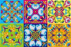 Mexican talavera ceramic tile pattern. Traditional decorative objects. Ethnic folk ornament. Decoration with ornamental flowers royalty free illustration