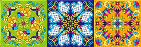 Mexican talavera ceramic tile pattern. Traditional decorative objects. Ethnic folk ornament. Decoration with ornamental flowers stock illustration