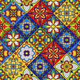 Mexican talavera ceramic tile seamless pattern. royalty free illustration