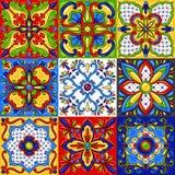Mexican talavera ceramic tile seamless pattern. Ethnic folk ornament. Italian pottery, portuguese azulejo or spanish majolica stock illustration