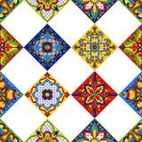 Mexican talavera ceramic tile seamless pattern. Ethnic folk ornament. Italian pottery, portuguese azulejo or spanish majolica vector illustration