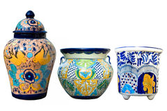 Mexican Talavera Pottery. Three colorful and decorative Mexican Talavera pots Royalty Free Stock Image