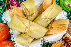 Mexican tamales made of corn and chicken Stock Photos