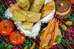 Mexican tamales made of corn and chicken Stock Images