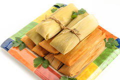 Mexican tamales made of corn and chicken isolated on white Stock Photography