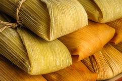 Mexican tamales made of corn and chicken isolated on white Royalty Free Stock Images