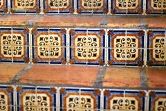 Mexican Tilework on a staircase. Mexican Tiles decorate a staircase in an old hotel Stock Photography