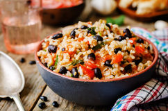 Mexican tomato black beans rice with cilantro. The toning. selective focus royalty free stock photo