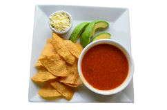 Mexican tomato soup called Azteca soup or tortilla soup Royalty Free Stock Photo