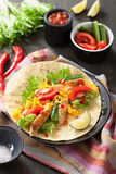 Mexican tortilla with chicken breast and vegetables Royalty Free Stock Photo