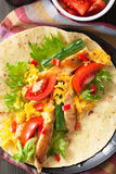 Mexican tortilla with chicken breast and vegetables Stock Images