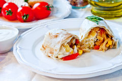 Mexican tortilla with meat stuffing, corn and vegetable salsa Royalty Free Stock Photo