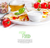 Mexican tortilla with meat stuffing, corn and vegetable salsa Royalty Free Stock Images