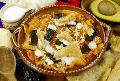 Mexican Tortilla Soup. Made with tomato sauce with sour cream, pasilla chiles, pork grinds, avocado and shredded cheese Stock Image