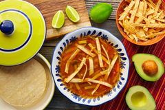 Mexican tortilla soup and aguacate Royalty Free Stock Photo
