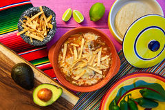 Mexican tortilla soup and aguacate Royalty Free Stock Images