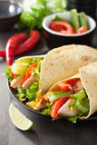 Mexican tortilla wrap with chicken breast and vegetables Stock Photos